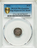 Proof Three Cent Silver, 1866 3CS -- Edge Repaired -- PCGS Genuine. Proof, Unc Details. Mintage 725....