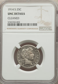 1914-S 25C -- Cleaned -- NGC Details. Unc. Mintage 264,000....(PCGS# 5669)