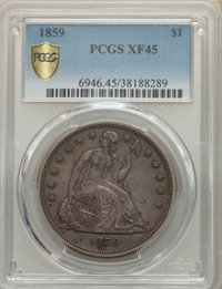 1859 $1 XF45 PCGS. PCGS Population: (32/95 and 0/2+). NGC Census: (10/64 and 0/1+). CDN: $900 Whsle. Bid for NGC/PCGS XF...