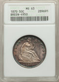 1870 50C Repunched Date, WB-102, Breen - 4950 MS63 ANACS. The base of 1 is recut, a scarce Cherrypickers' variety. Hous...