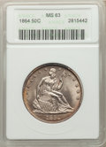 1864 50C WB-101 MS63 ANACS. Frosted and lustrous, with light, pale-orange toning at the margins. Housed in an early gene...