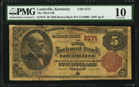 Louisville, KY - $5 1882 Brown Back Fr. 474 The Third National Bank Ch. # 2171 PMG Very Good 10