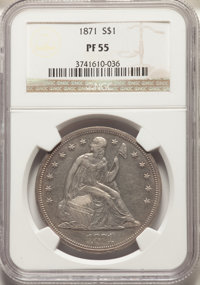 1871 $1 OC-P2, Low R.5, PR55 NGC. Ex: Osburn-Cushing Reference Collection. OC Die State a/a. The rarest of two proof die...