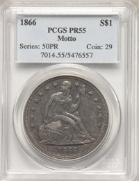 1866 $1 OC-P2, R.3, Motto PR55 PCGS. Ex: Osburn-Cushing Reference Collection. OC Die State a/a. Briefly circulated With...