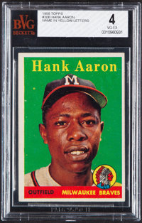 1958 Topps Hank Aaron (Yellow Letters) #30 BVG VG-EX 4