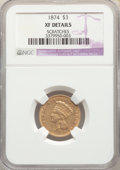 Three Dollar Gold Pieces, 1874 $3 -- Scratches -- NGC Details. XF. Mintage 41,800....