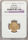 Three Dollar Gold Pieces, 1874 $3 -- Mount Removed -- NGC Details. XF. Mintage 41,800....