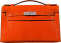 "Luxury Accessories:Bags, Hermès Orange Niloticus Lizard Kelly Pochette Bag with Ruthenium Hardware. J Square, 2006. Condition: 2. 8.5"" Widt..."