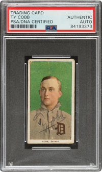 Signed 1909-11 T206 Ty Cobb Green Portrait, PSA/DNA Authentic