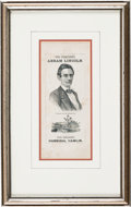 Political:Ribbons & Badges, Abraham Lincoln: Impressive Paper Portrait Ribbon with Homestead Theme Illustration....