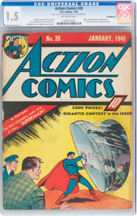 Action Comics #20 Incomplete (DC, 1940) CGC FR/GD 1.5 Off-white pages