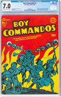 Golden Age (1938-1955):War, Boy Commandos #1 (DC, 1942) CGC FN/VF 7.0 Off-white to whi...