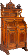 Furniture, A Wooton Desk Co. Renaissance Revival Walnut Secretary with Original Hardware, circa 1880. Marks: MANUFACTURED BY THE WOOT...