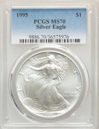 1995 $1 Silver Eagle MS70 PCGS. PCGS Population: (75). NGC Census: (766). Mintage 4,672,051. ...(PCGS# 9886)