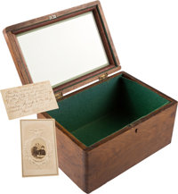 Abraham Lincoln: Box Made Of Wood From The Interior Of Lincoln's Funeral Car