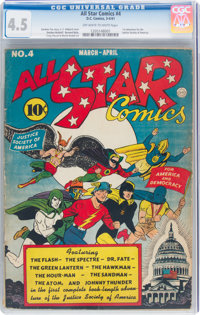All Star Comics #4 (DC, 1941) CGC VG+ 4.5 Off-white to white pages