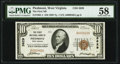 National Bank Notes:West Virginia, Piedmont, WV - $10 1929 Ty. 1 The First National Bank Ch. # 3629 PMG Choice About Unc 58.. ...