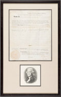 Autographs:U.S. Presidents, Thomas Jefferson and James Madison: Signed Land Grant for Revolutionary War Veteran....