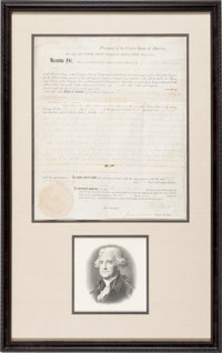Thomas Jefferson and James Madison: Signed Land Grant for Revolutionary War Veteran