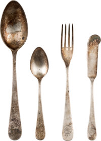 LZ 129 Hindenburg Disaster: Silver Tableware Retrieved from the Wreckage. ... (Total: 4 Items)