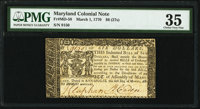 Maryland March 1, 1770 $6 PMG Choice Very Fine 35