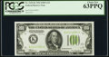 Fr. 2152-K $100 1934 Light Green Seal Federal Reserve Note. PCGS Choice New 63PPQ