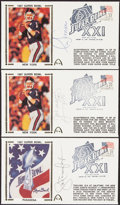Autographs:Post Cards, 1987 Super Bowl Signed First Day Covers, Lot of 3....