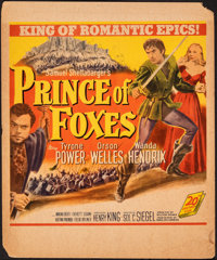"Prince of Foxes & Other Lot (20th Century Fox, 1949). Overall: Fine+. Trimmed Window Card (14"" X 17"") &..."