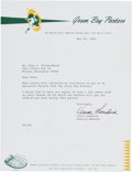 Football Collectibles:Others, 1968 Vince Lombardi Signed Letter....