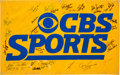 Football Collectibles:Others, 1980's CBS Sports Multi-Signed Banner, With Many Packers Legends....