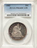 """1882 50C PR64 Deep Cameo PCGS. Type Two Reverse. An unlisted Repunched Date (""""WB-103"""") Choice proof, without a..."""