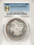 Morgan Dollars: , 1885 $1 MS66 Deep Mirror Prooflike PCGS. PCGS Population: (102/1 and 10/0+). NGC Census: (52/6 and 2/0+). CDN: $1,800 Whsle...