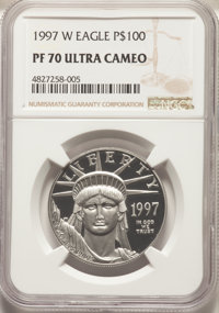 1997-W $100 One-Ounce Platinum Eagle, Statue of Liberty PR70 Ultra Cameo NGC. NGC Census: (616). PCGS Population: (127)...