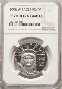1998-W $100 One-Ounce Platinum Eagle, Statue of Liberty PR70 Ultra Cameo NGC. NGC Census: (630). PCGS Population: (210)...
