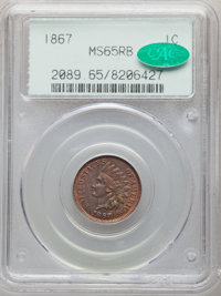 1867 1C MS65 Red and Brown PCGS. CAC. PCGS Population: (95/1). NGC Census: (105/12). CDN: $1,250 Whsle. Bid for NGC/PCGS...