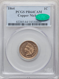 1864 1C Copper Nickel PR64 Cameo PCGS. CAC. PCGS Population: (28/44). NGC Census: (9/16). PR64. From The Triplets Col...