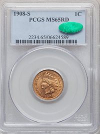 1908-S 1C MS65 Red PCGS. CAC. PCGS Population: (242/63). NGC Census: (85/30). CDN: $1,600 Whsle. Bid for NGC/PCGS MS65...