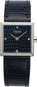 Luxury Accessories:Accessories, Hermès 24mm Blue Abyss Lizard Diamond Carre Cuir Watch. C, 2018. Condition: 1. Wrist Size 135-160mm. ...