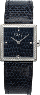 Hermès 24mm Blue Abyss Lizard Diamond Carre Cuir Watch C, 2018 Condition: 1 Wrist Size 135-160mm