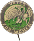 """Political:Pinback Buttons (1896-present), Woman's Suffrage: Graphic """"Six Star"""" Trumpeter Button...."""