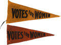 Political:Textile Display (1896-present), Woman's Suffrage: Pair Of Votes Pennants.... (Total: 2 Items)