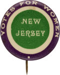 Political:Pinback Buttons (1896-present), Woman's Suffrage: Colorful New Jersey Ballot Measure Pinback....