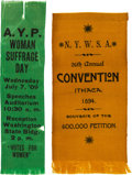 Political:Ribbons & Badges, Woman's Suffrage: Pair of Ribbons.... (Total: 2 Items)