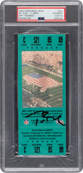 Football Collectibles:Tickets, 2002 Super Bowl XXXVI Full Ticket Signed by Tom Brady, Autograph Gem Mint 10....