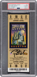 Football Collectibles:Tickets, 2004 Super Bowl XXXVIII Full Ticket Signed by Tom Brady, Autograph Gem Mint 10. ...