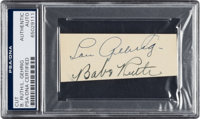 Early 1930's Babe Ruth & Lou Gehrig Signed Cut Signatures, PSA/DNA Authentic