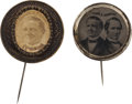 Political:Ferrotypes / Photo Badges (pre-1896), Tilden & Hendricks: Bold Ferrotype Jugate with Scarce Stickpin.... (Total: 2 Items)