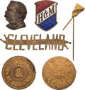 Political:Ferrotypes / Photo Badges (pre-1896), Grover Cleveland, James G. Blaine and Benjamin Harrison: Six Different Badges....