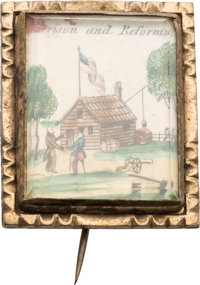 William Henry Harrison: Outstanding Hand Colored Log Cabin Brooch
