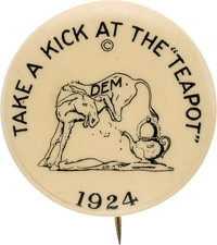 "John W. Davis: Prohibitively Rare ""Teapot Dome"" Cartoon Pin"